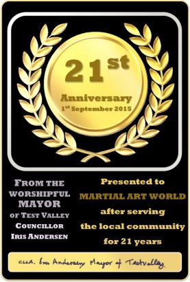 21 Year Award from the Mayor of Test Valley, Councillor Iris Andersen