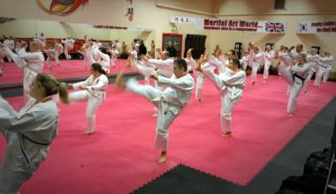 Martial Art World students training hard to achieve success