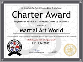 Charter Award - Professional Martial Arts Academy Centre of Excellence